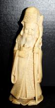 Carved Chinese Ivory Figure of Man w/ Turtle
