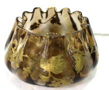 Lovely Emile Galle Gilt Painted Art Glass Vase