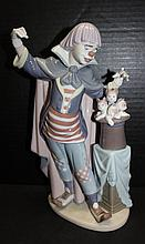 Beautiful Lladro Circus Magic Clown w/ Hat Figure