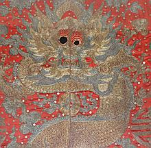 Chinese Embroidery Gold & Silver Silk Robe Fragment