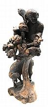 Antique Chinese Root Wood Carved Buddha & Ox Figure