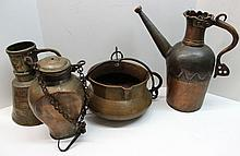 Group of Four Antique Copper Vassels