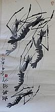 Vintage Chinese Scroll Brush Painting of Shrimp