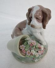 Lladro Porcelain Dog w/ Pot of Flowers