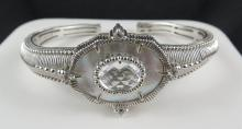 Judith Ripka Silver & Mother of Pearl Crystal Bangle