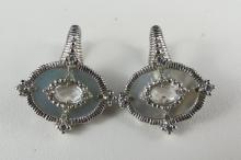 Judith Ripka Sterling & Crystal Earrings