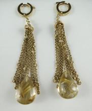 YG Crystal & 0.50ct Diamond Earrings