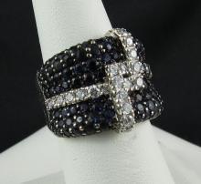 18Kt WG 3ct Sapphire & 0.80ct Diamond Ring