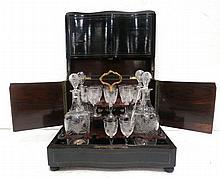 Antique Cut Crystal 4 Decanter Tantalus Set