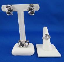 14Kt WG Black & White Diamond Earrings & Pendant Set w/ 18Kt WG Black & White Diamond Ring