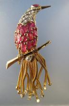 French Retro Bird of Paradise Diamond Ruby Brooch