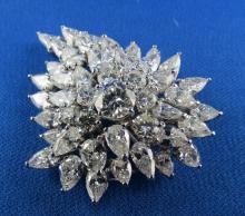 1950's Platinum Diamond Brooch Pendant