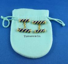 18Kt YG Royal Blue Enamel Cufflinks by Tiffany & Co. Schlumberger
