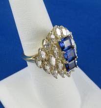 1970's Diamond & Sapphire Fashion Ring