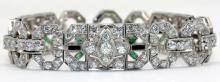 Exquisite Art Deco Platinum Diamond Emerald & Onyx Bracelet