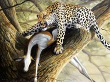 """Grant Hacking """"Leopard in a Tree"""" Oil on Canvas"""