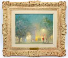 Johann Berthelsen (American, b.1883-1972) Oil on Canvas of a Park Scene