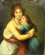 Unsigned Oil on Canvas Depicting a Woman & Her Child