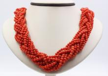 18Kt YG Coral Multi-Strand Rope Necklace