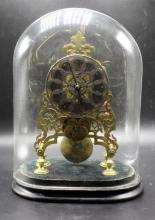 19th C. Fusee Skeleton Clock with Original Dome Glass