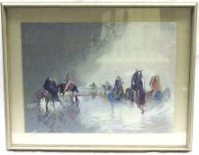 Earl Biss Watercolor of Native Americans