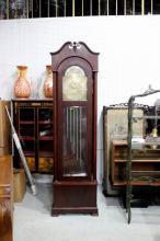 9 Tube Mahogany Glass Cased Grandfather Clock