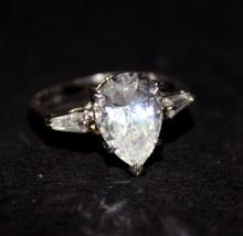 Sterling High Quality Pear Shaped CZ Ring