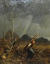 Fine Mid 19 C. Louis Adolphe Hervier French Barbizon Painting Wood Gatherers Paris