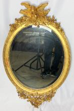Antique Giltwood Wall Mirror Mounted with Birds Bows & Snags