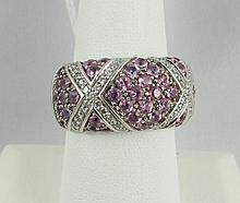 14Kt WG Pink Sapphire & Diamond Ring