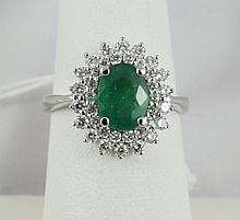 14Kt Diamond & Emerald Ring