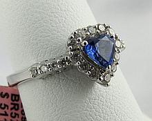 18Kt WG Diamond & Sapphire Ring