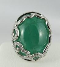 18Kt Diamond Ring w/ 31.21ct Cabochon Emerald Ring