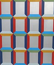 Miriam Schapiro (b.1924) Abstract Silver Windows