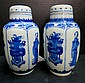 19th C. Chinese Hand Painted Blue & White Miniature Jars