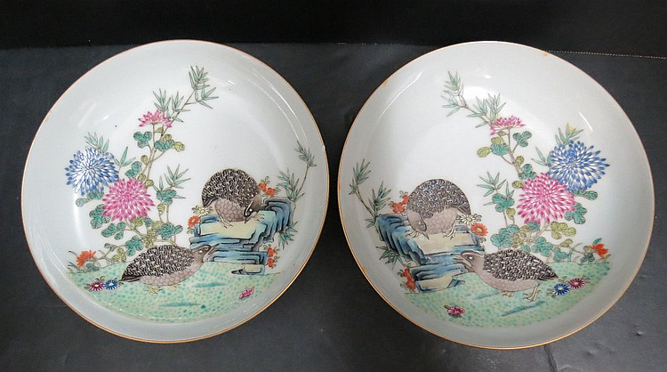 Pair of Chinese Family Rose Porcelain Bowls