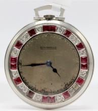 Platinum Patek Philippe Open Face Pocket Watch Mounted with Rubies & Diamonds