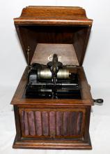 Antique Edison Hand Crank Phonograph with 5 Rolls