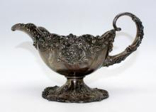 Sterling Silver Sauce Boat Decorated with Floral Swags
