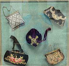 Set of 15 Vintage Purses in Acrylic Frame