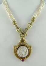 18Kt YG Mother of Pearl & Diamond Pendant w/ Pearl Necklace