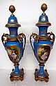 Pair of Sevres Bronze & Porcelain 2 Handled Covered Urns