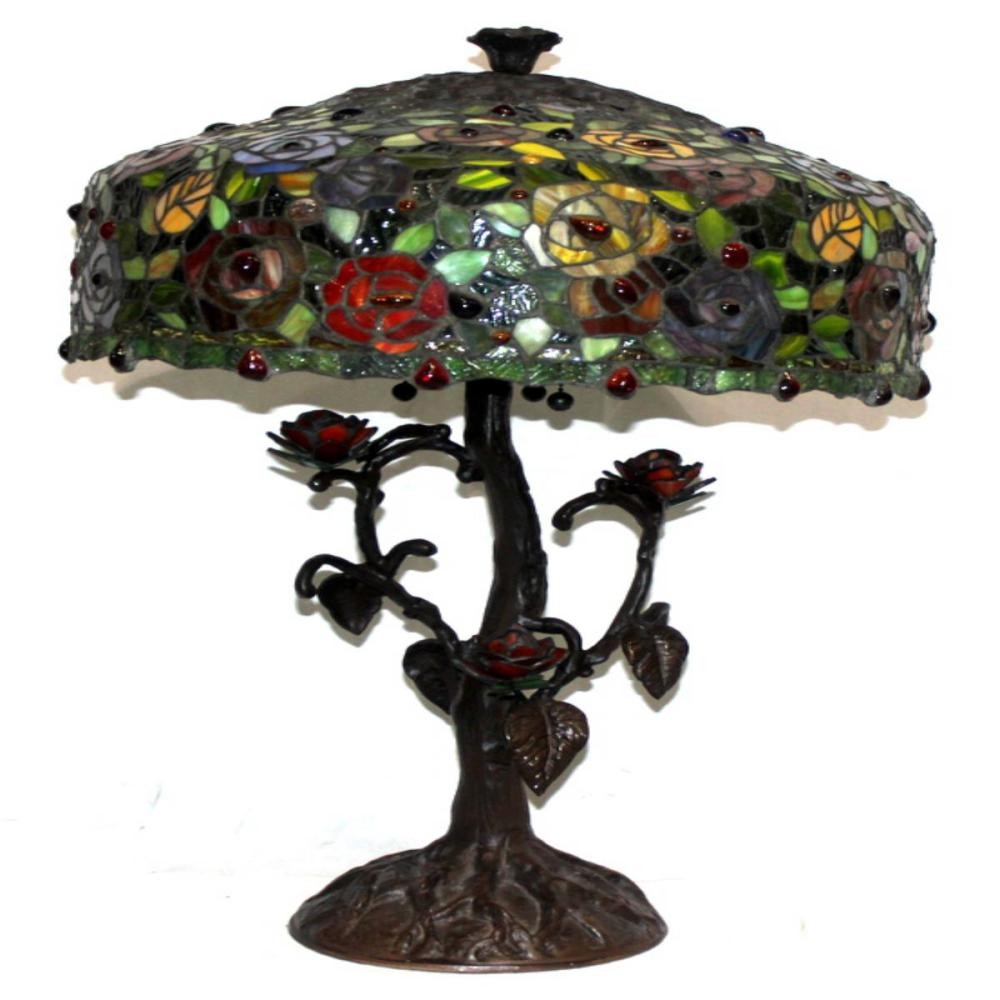 Tiffany Style Floral Metal Base Table Lamp
