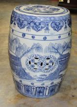Blue & White Oriental Garden Ceramic Seat