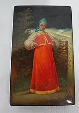 Antique Russian Hand Painted Lacquer Box