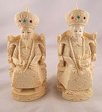 Pair of Hand Carved Ivory Emperor & Empress w/ Precious Stones