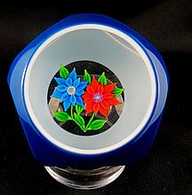Floral Design Art Glass Crystal Paperweight