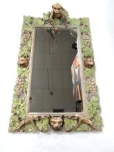 Antique European Wooden Hand Painted Mirror