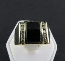 14Kt YG Men's Onyx & 0.50ct Diamond Ring
