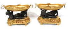 Pair of Beautiful Dore Bronze Figural Garniture Center Bowls